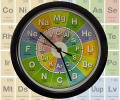 Chemie Uhr mit Periodensystem Zifferblatt