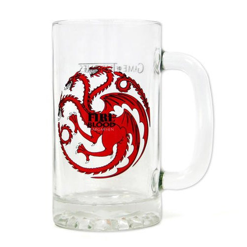 Game of Thrones Glas Bierkrug Fire and Blood Targaryen